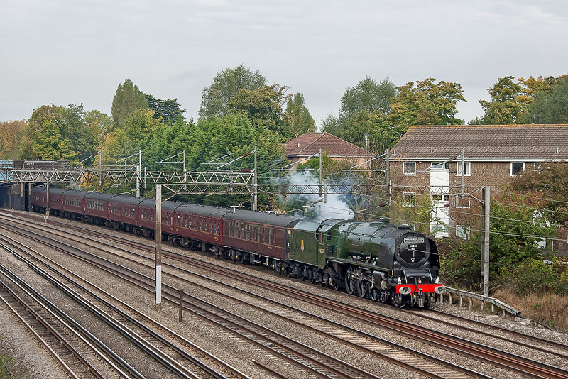 20th Oct 12:  Captured at South Kenton is 46233 'Duchess of Sutherland' running well withthe London Explorer  from Derby to Euston