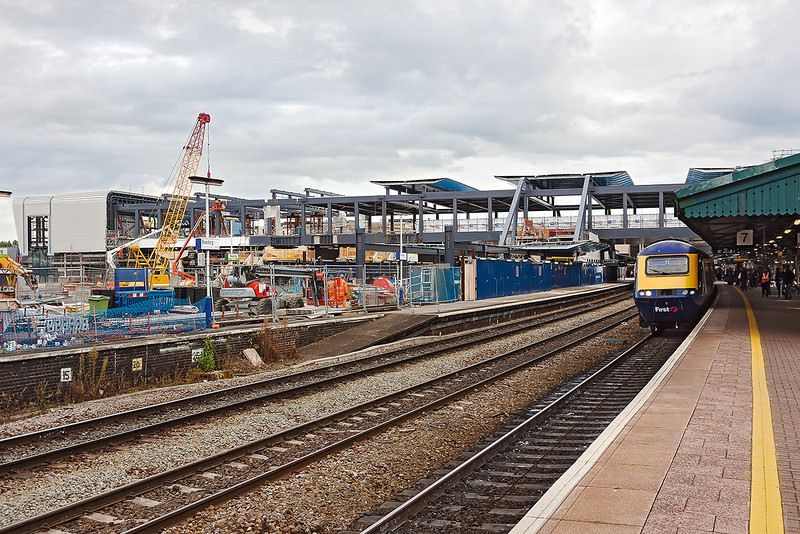 4th Oct 12:  The new footbridge is taking shape but what a mess.  It is hard to believe that there are 2 more working through platforms on the lleft