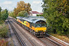 16th Oct 12:  Heading to Eastleigh from Ashford Up Sidings are Colas pair 66850 & 846, seen here crossing Addlestone Moor