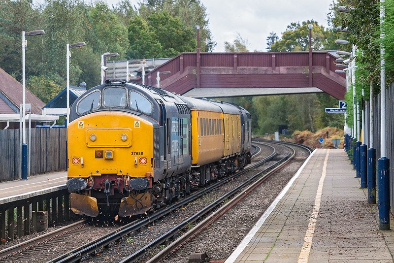18th Oct 12:  Kicking up the leaves as they hurrying through Martins Heron are 37688 TnT 37682 on 1Q14 back from Reading
