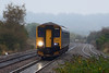 24th Oct 12:  150247 heading for Cardiff on 2U08 the 08.41 from Weston Super Mare nears Pilning
