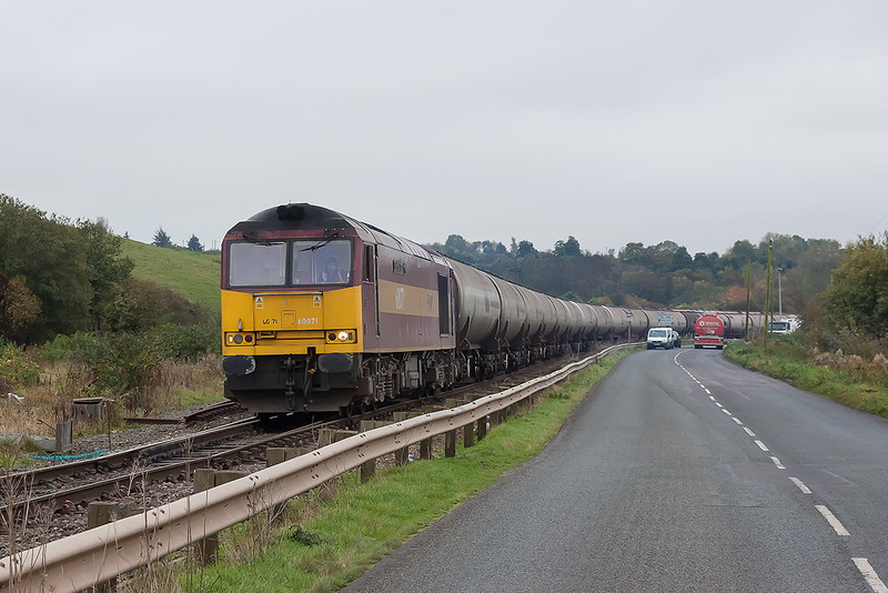24th Oct 12:  60071 now leaves the Westerleigh Terminal on the empties back to Lindsey (6E41)