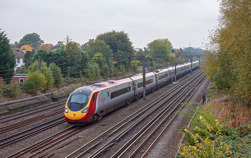 20th Oct 12:  The 11.20 from Euston to Manchester Piccadilly, 1A21, screams through South Kenton