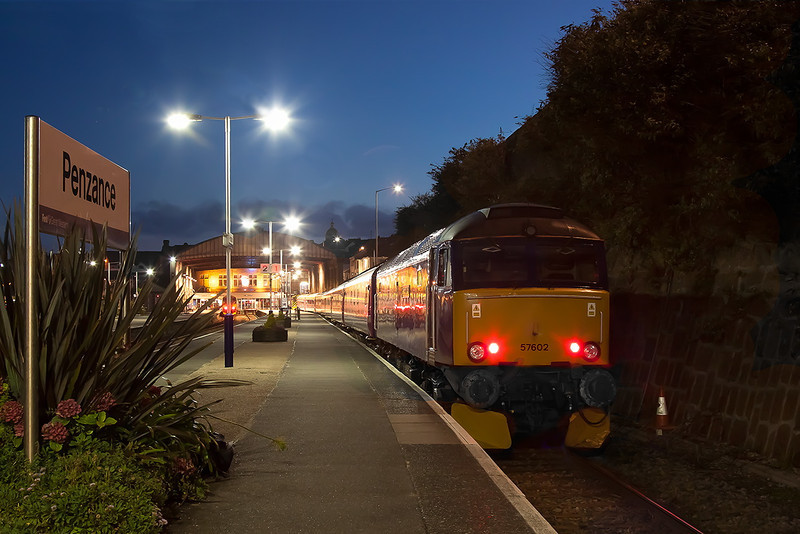12th Sep 12:  57602 sits in Platform 1 at Penzance with the 21.45 'Night Riviera' Sleeper to Paddington (1A40)