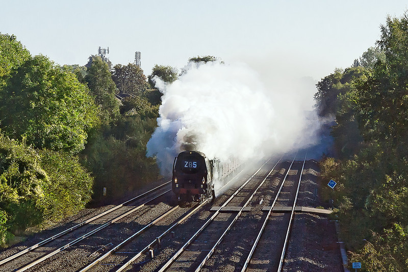 29th Sep 12:  The West Somerset Steam Express from Paddington to Minehead is at the site of Waltham Siding, west of Maidenhead, with 34067 'Tangmere' on the point.