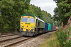 4th Sep 12:  Freightliner Heavy Hall 66557 is unusually tasked with powering the Southampton to Wentloog to Southampton trip.  Captured here on the return leg as it nears Mortimer