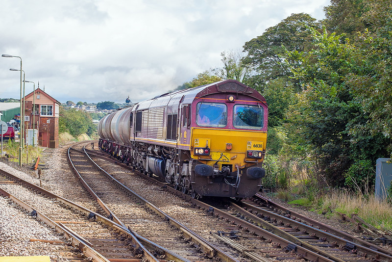 12th Sep 12:  Storming up the grade through St Erth is 66130 in charge of 6C21 TTA oil tanks from Burngullow to Long Rock
