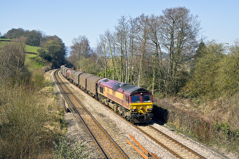 27th Mar 12:  66121 drops down through Ponthir while working 6V75 empty steel from Dee Marsh to Margam