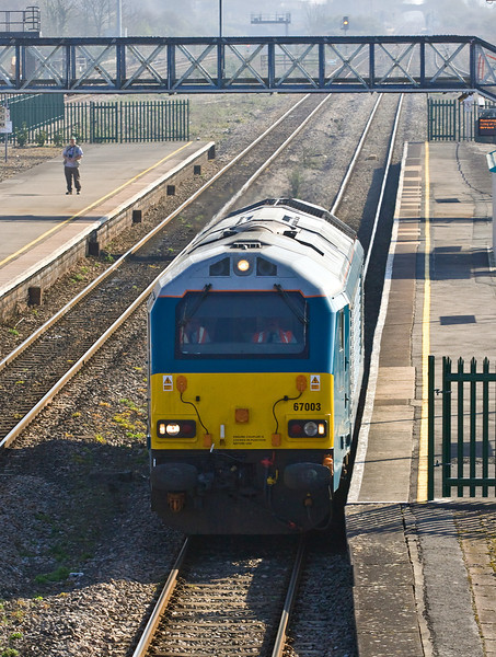 27th Mar 12:  Running east through Severn Tunnel Junction os 67003 in Arriva Trains Wales livery