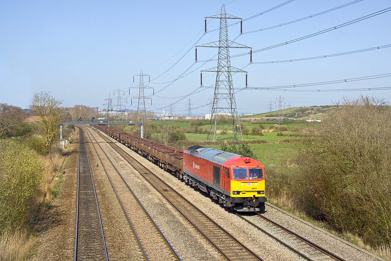 27th Mar 12:  60079 with empty steel Wagons trundles East through Duffryn with the Llanwern to Margam (6B04) trip