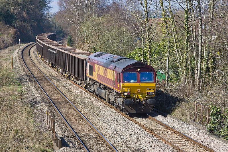 27th Mar 12:  66008  is in control of 6Z35 loaded boxes from Moreton on Lugg to Acton Yard at Ponthir