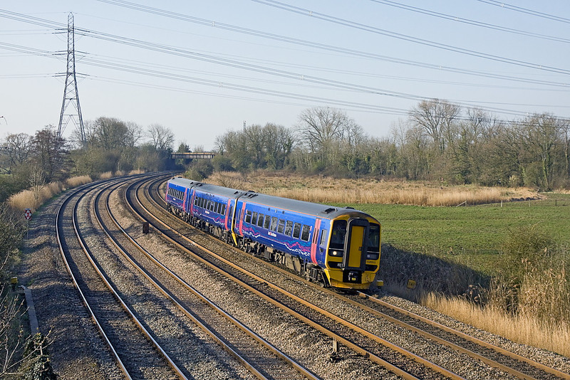 27th Mar 12:  Leaning to the curve through Duffryn is FGW 158955 working 1F09 the 09.30 cardiff to Portsmouth Harbour
