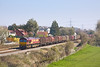 27th Mar 12:  66165 trundles steel carriers from Round Oak to Margam through Portskewett towards Severn Tunnel Junction.