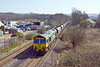 27th Mar 12:  Grinding up hill through Ponthir is 66531 powering the  Portbury to Rugely power staion coal