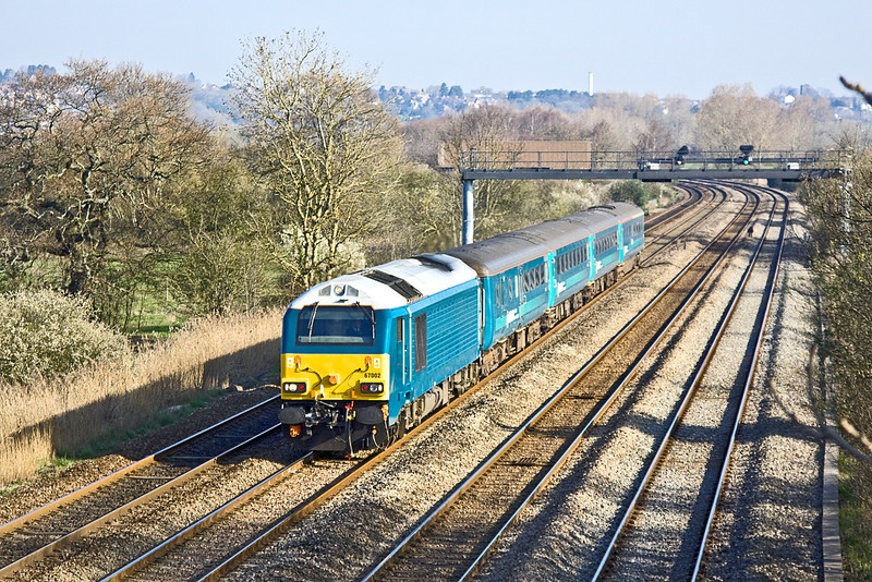 27th Mar 12:  In Arriva Trains Wales livery 67002 passes through Duffryn in charge of 1V31 the 05.32 from Holyhead to Cardiff