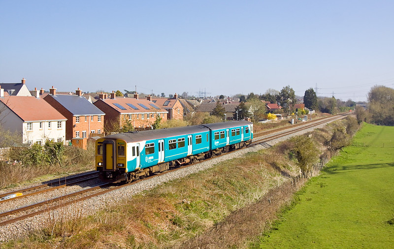 27th Feb 12:  The 10.45 from Cheltenham to Maesteg slows for the Caldicott stop.  150267 is pictured at Portskewett