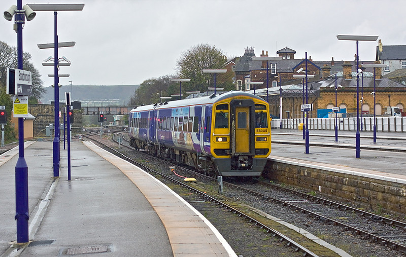 25th Apr 12:   On a horrible afternoon weather wise 158905 arrives at Scarborough.  1W36 left Sheffield at 11.41 at the start of a 3 hour journey