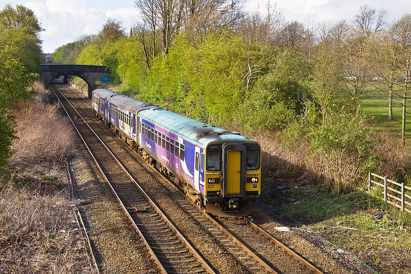 20th Apr 12:  153351 crosses The Stray as it leaves Harrogate with the 17.05 from Knaresborough to Leeds