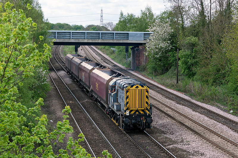 9th May 13:  Trundling along the line from Swinton is 09201 with 4 EWS coal wagons that were destined for Milford Sidings