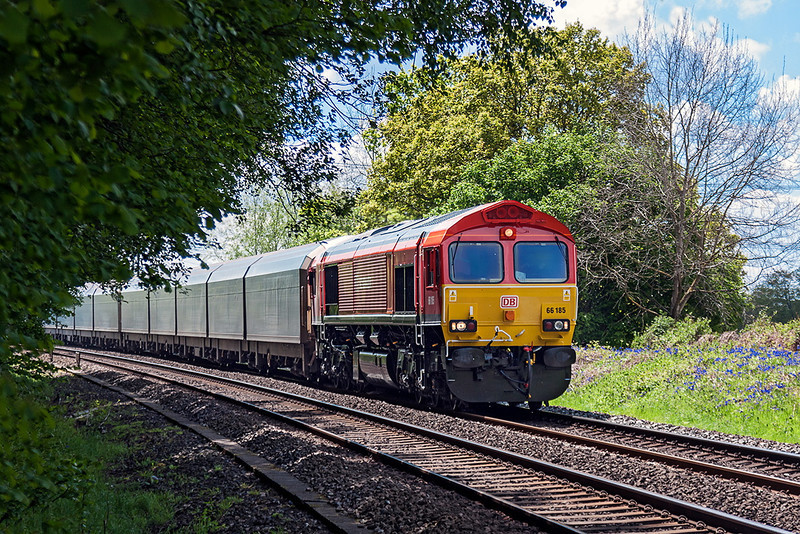25th May 13:  Newly repainted 66185 northbound through Silchester with 4M52  WIA Car Carriers from Southampton to Castle Bromwich