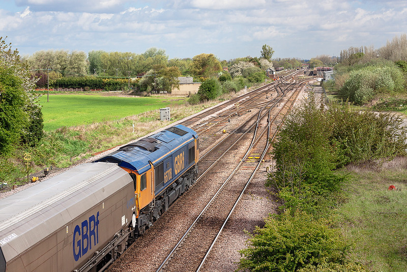 9th May 13:  66708 heads the 09.57 from Ferrybridge to Redcar through Milford Junction