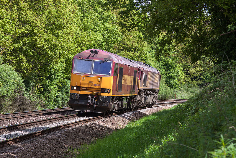 25th May 13:  The only load today for 60049 working 6O26 Departmental from Hinksey to Eastleigh is 66120.  Captured at Great Park Crossing near Mortimer