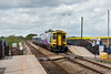 9th May 13:  158758 pauses at South Milford with 2E17 the 09.48 from Manchester Victoria to Selby