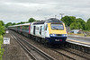 28th May 13:  The first run of FGW power car 43148 since being reliveried to advertise the new HP Tablet for Business was on 1A87 the 14.15 from Paignton to Paddington.  Captured here passing through Twyford