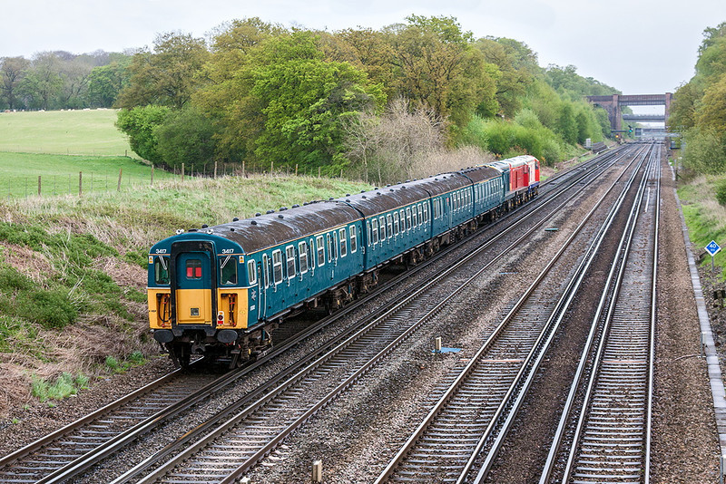 14th May 13:  The South Western Main Line was home turf for a 4VEP but not hauled by three Class 20s !! Class 421  #3417 hauled by 20227+20189+20184 on 5Z15 Swanage to Clapham Junction atTotters Lane