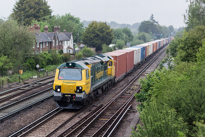 29th May 13:  70018 again heads the Wentloog to Southampton Maritime through a rapidly becoming over grown Worting Junction