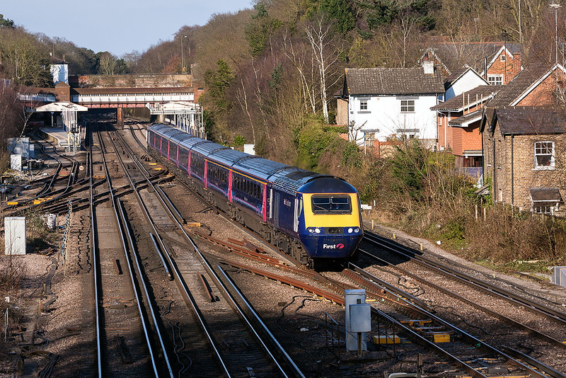 1st Apr 13:  The 16.07 from Waterloo to Penzance with 43160 on the front roars through Weybridge