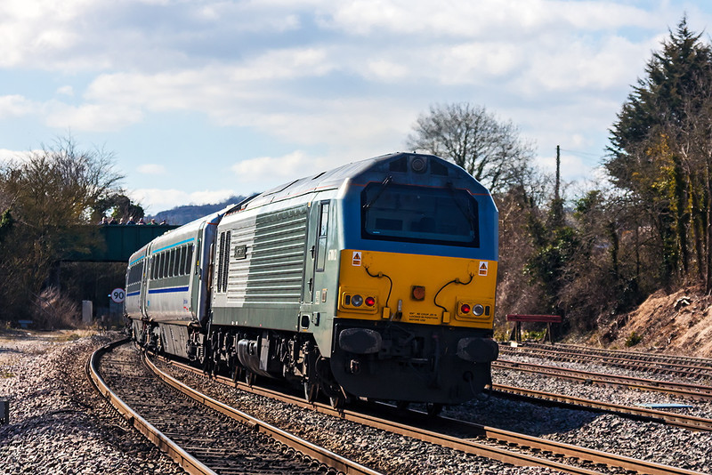 6th Apr 13:  Providing the grurnt to 1H13 the 09.10 from Kidderminster to Marylebone is 67012.  Pictured at Princes Risborough
