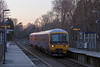 2nd April 13:  165119 on the 19.04 from Reading to Shalford was 8 minutes late for the Sandhurst stop meaning that the last rays of the setting sun had almost vanished.