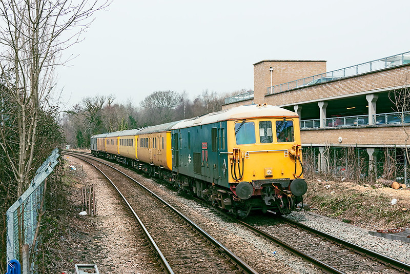 8th Apr 13:  On the Reading to Guildford leg of the day's itinery 73201 leads as 1Q02 passes through Blackwater