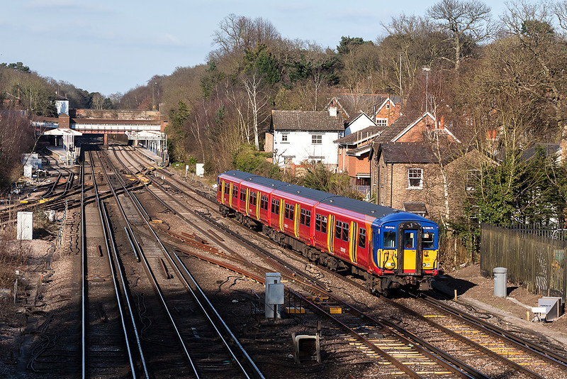 1st Apr 13:  The 15.50 from Waterloo to Woking, 2F43, leaves Weybridge in the hands of 455912