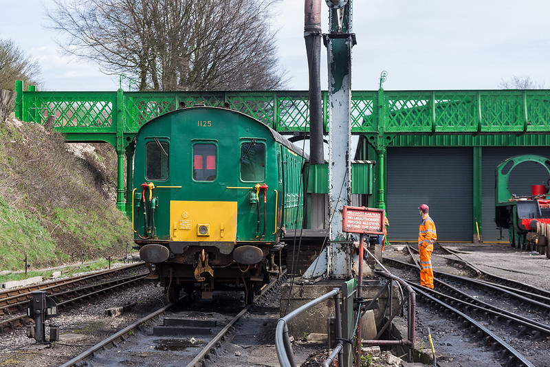14th Apr 13:  Thumper 1125 stands in the yard at Ropley.  The now open Hogwarts Bridge is in the back ground