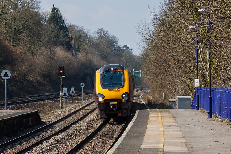 3rd Apr 13:  The 11.27 from Manchester Piccadilly to Bournemouth, 1O16,  Passes through Tilehurst.  This service will call at Reading West due to lack of space In the main station during rebuilding