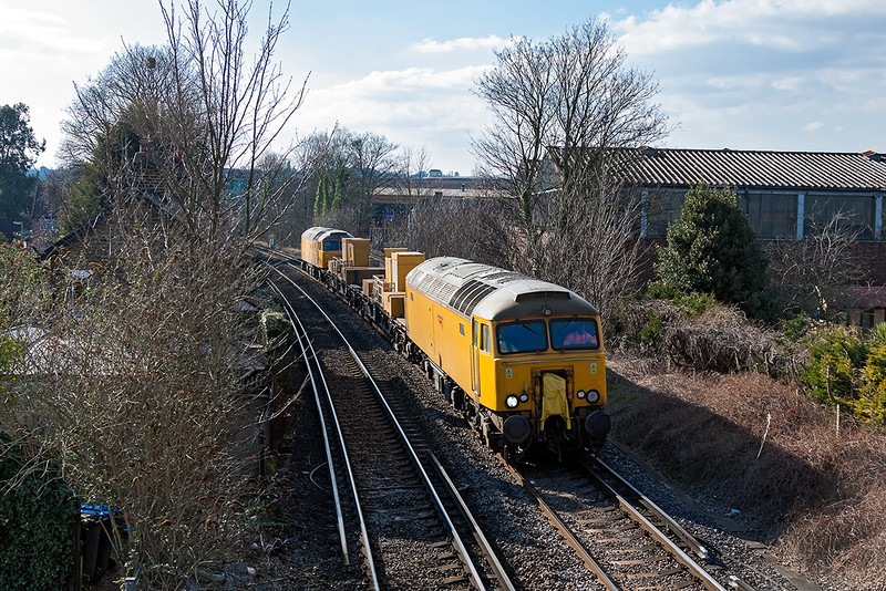 1st Apr 13:   The De icing train running as 8Y87 from Eastleigh to Eastleigh is TnT by 57305 & 57310.  Captured here at  Pooley Green between Egham and Staines