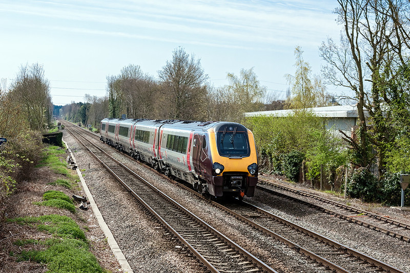 28th Apr 13;  Well off the beaten track is Cross Country 221136 nearing Wokingham.  1M34, the 08.20 from Southampton to Manchester Piccadilly, is using this route due to engineering work at Southcote Junction