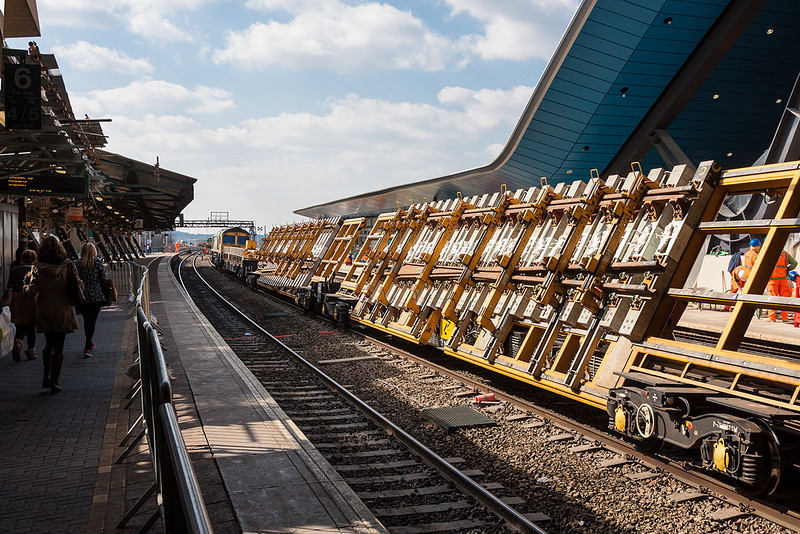 3rd Apr 13:  Ready built Turn Out pannels ready to be moved into position by 66619