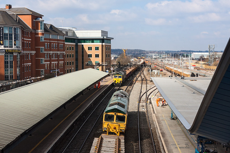 3rd Apr 13:   66619 stand with track panels on the old 'Up Through' as 66532 eases forward with fresh ballast.