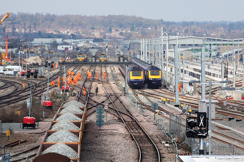 3rd Apr 13:  Looking west from over the relief lines from the new foot bridge.  The HSTs are using the only through lines giving access to the stations.  There is no access to the station from the B & H all services are via Westbury and Swindon