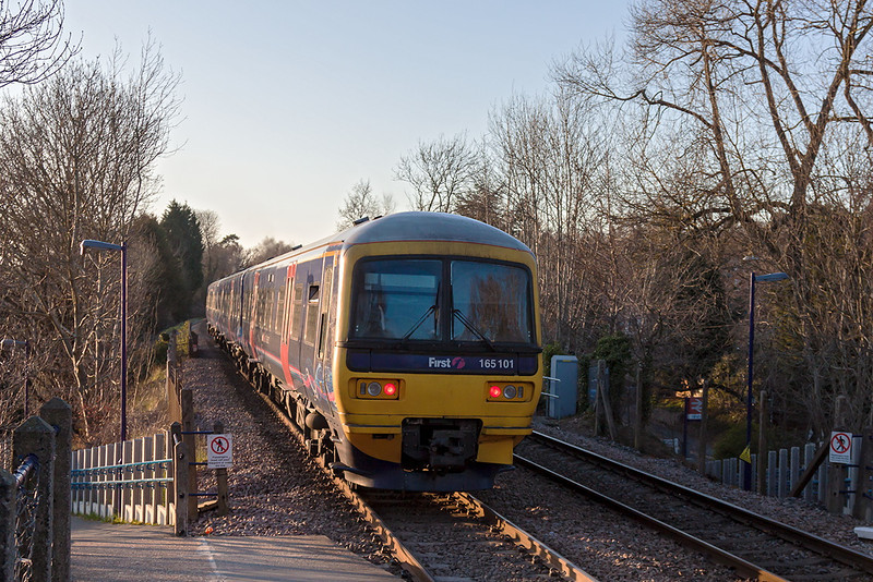 2nd Apr 13:  The 17.43 from Redhill to Reading departs from Sandhurst