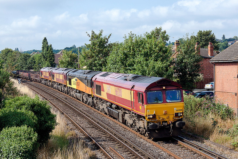 26th Aug 13:  6Y41 the Eastleigh to Hoo Junction Departmental sevice runs through Egham behind 66200.  In the consist are 66850, 66165 & 66004.  It is understood that Colas will be taking over this working