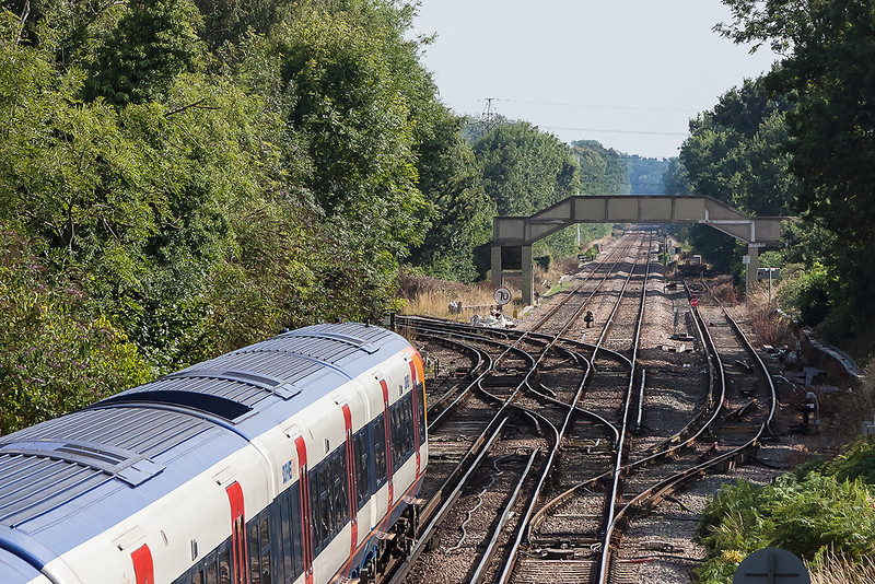 25th Aug 13:  The 15.37 from Reading to Waterloo is about to take the Ascot line as it leaves Wokingham