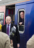 8th Dec 13:  At Melksham the driver of 153380 looks on as the FGW official is interviewed about the new Westbury Swindoin service which started today