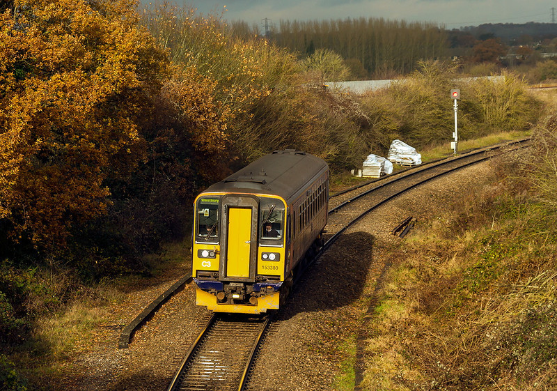 8th Dec 13: Pealing away from the main line at Thingly Junction is153380  with the retun 11.36 Swindon  to Westbury (3M08)