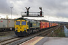 30th Dec 13:  Diverted via Salisbury is 4L32 from Bristol FLT to Tilbury  roars through Westbury 66537 on the front and 66564 adding extra weight at the rear