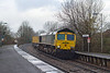 30th Dec 13:  Diverted via Salisbury is 4L31 from Bristol FLT to Felixstowe.  Captured here  at Warminster with 66591 on the point and 66541 at the rear