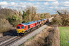 2nd Feb 13:  A Saturday running of 7C77  from Acton to Westbury Yard saw 59202 0n the point.  With  66060 & 66148 DIT the ensemble are pictured at Burghfield